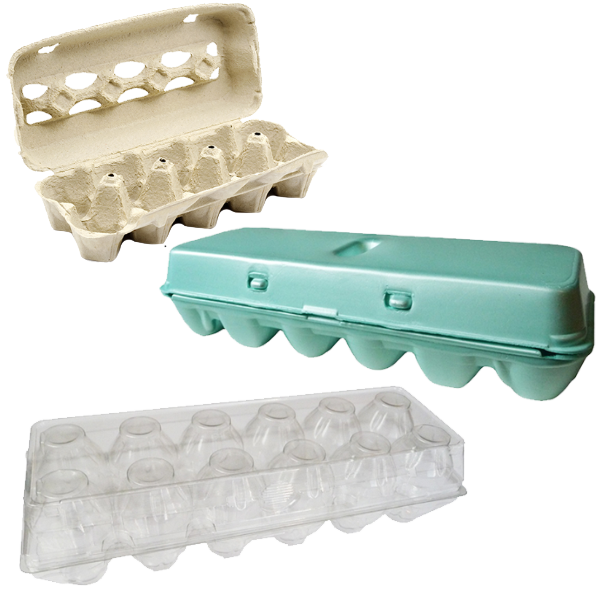 Paper, plastic and foam egg cartons.