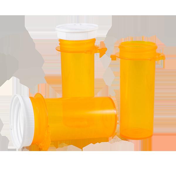 Pill and medication plastic bottles.