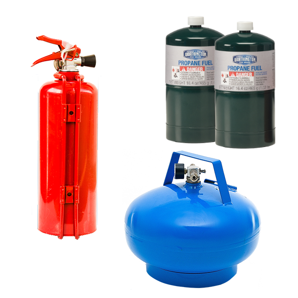 Pressurized propane and helium tanks.