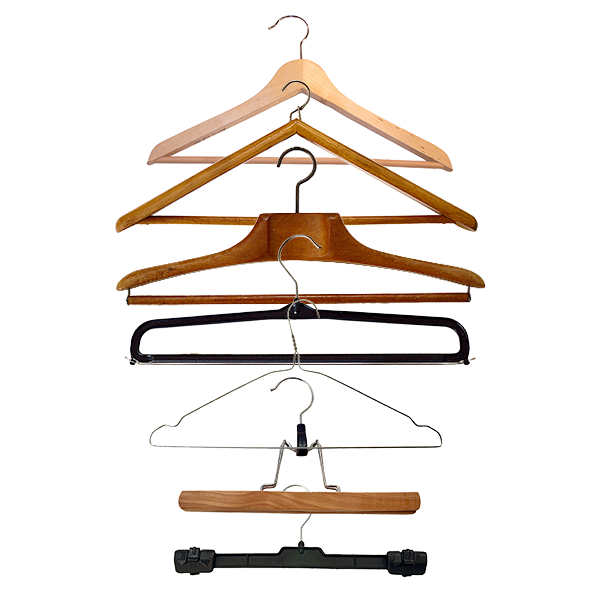 Wire, wood and plastic coat hangers of all types.