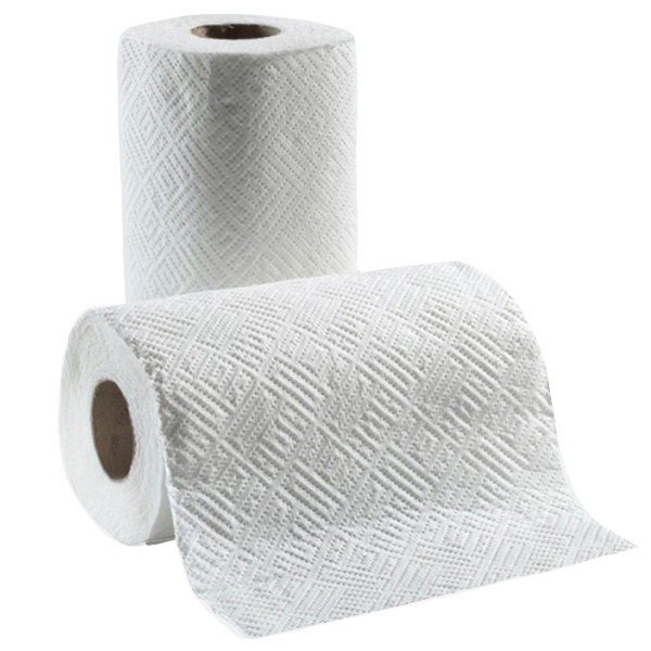 Absorbent disposable paper towel sheets.