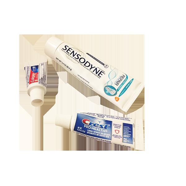 Empty toothpaste tubes.