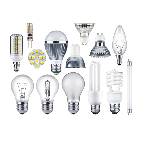 All types of light bulbs, including, incandescent, halogen, LED and fluorescent bulbs and tubes.
