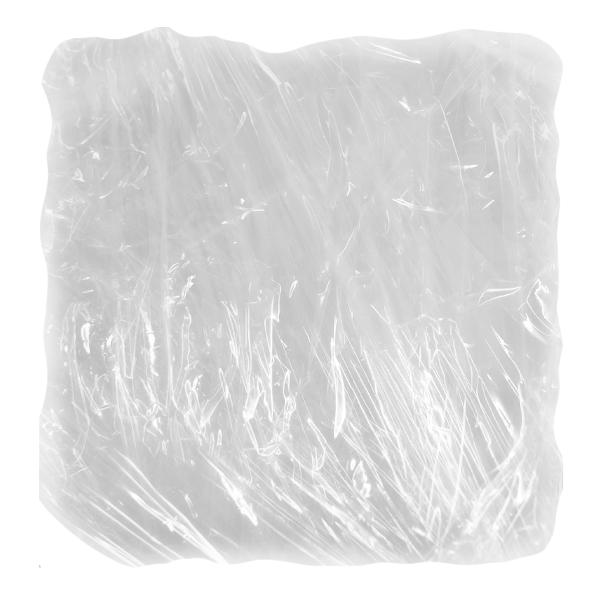 Plastic film wrap, such as Saran wrap.
