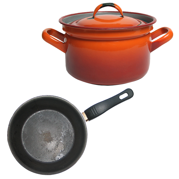 Metal or glass cooking pots and fry pans.