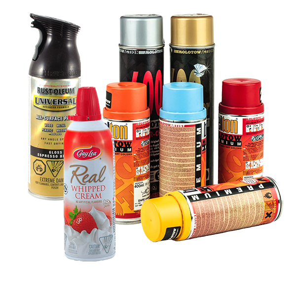 Empty aerosol cans, like the type used for spray paint, hair spray, shaving cream and Pam cooking spray.