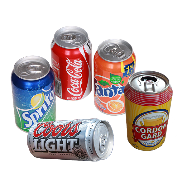 Aluminum beverage cans such as coke cans and beer cans.