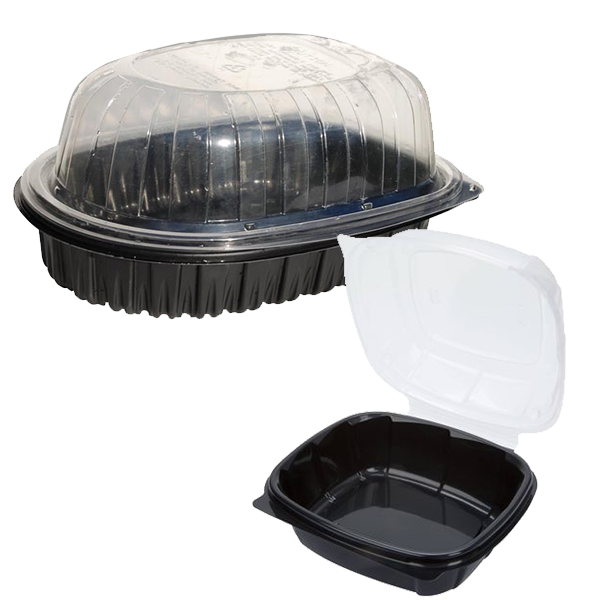 Black plastic containers sometimes used for take-out food and whole rotisserie chickens.
