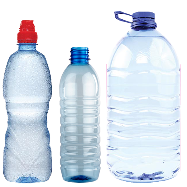 Disposable single use plastic water bottles.