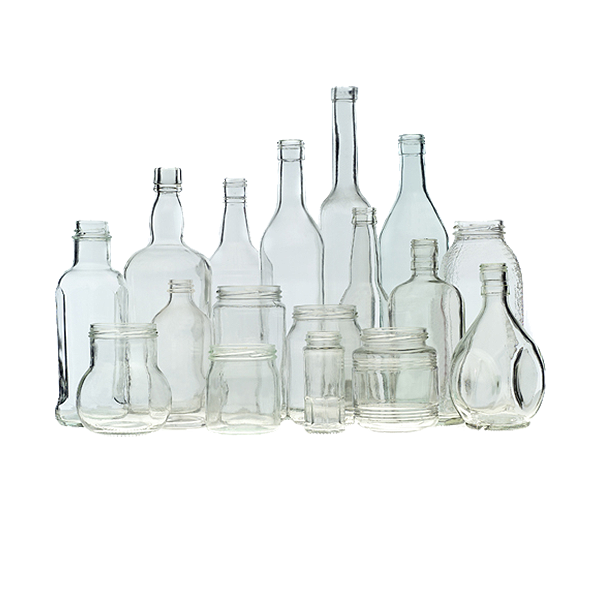 Glass bottles and jars in assorted colors.