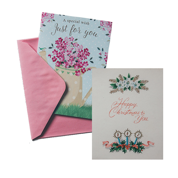 Birthday cards, gift cards and other greeting-type cards.
