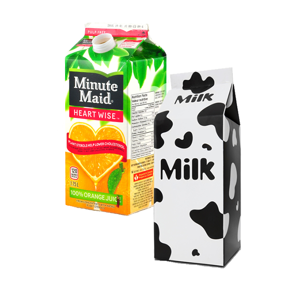 Paper-type cartons used for dairy and juice. These are sometimes called gable-top containers.
