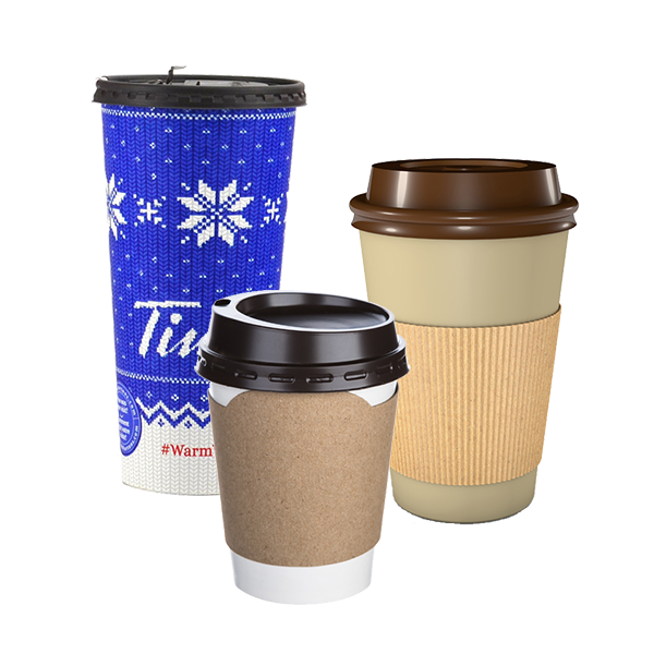 Take-out coffee cups with lid and paper sleeve.
