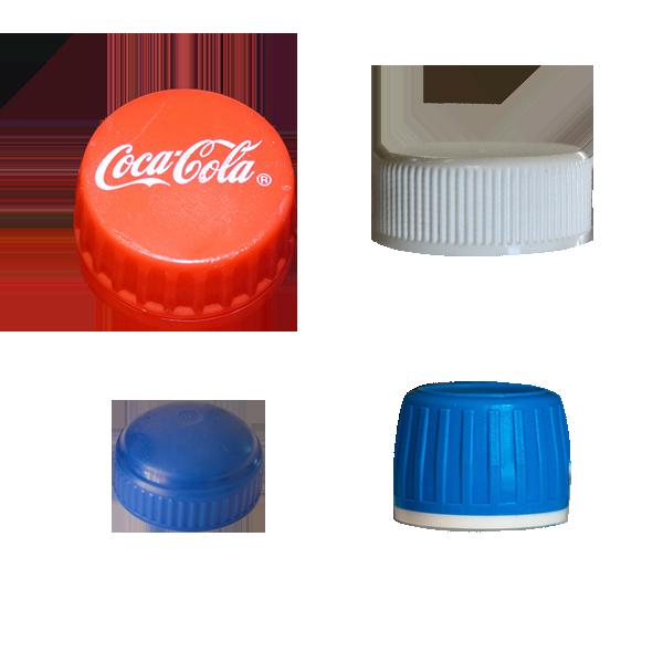 Plastic bottle caps and lids.