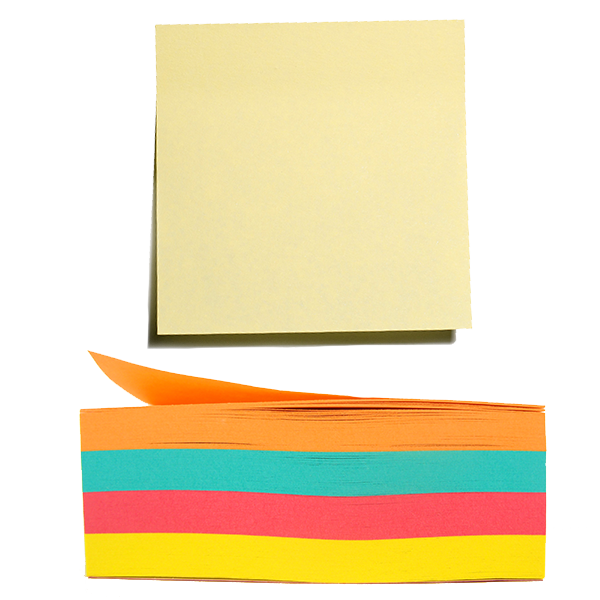Post-it type sticky notes of assorted colors.