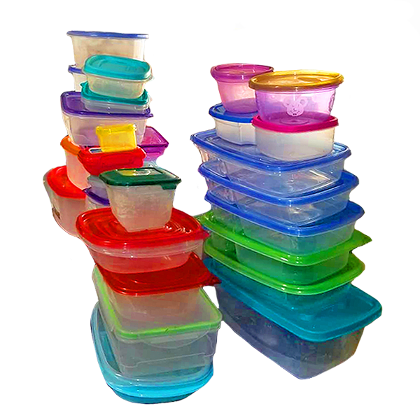 Empty food storage containers with lids.
