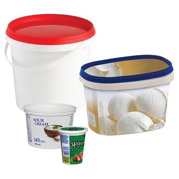 Yogurt cups and tubs, empty and clean with lids attached.