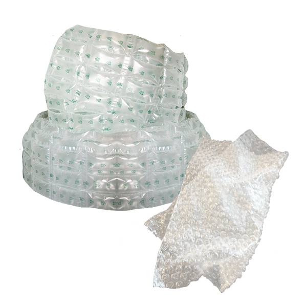 Air-filled plastic wrap and pouches used to cushion products during shipping.