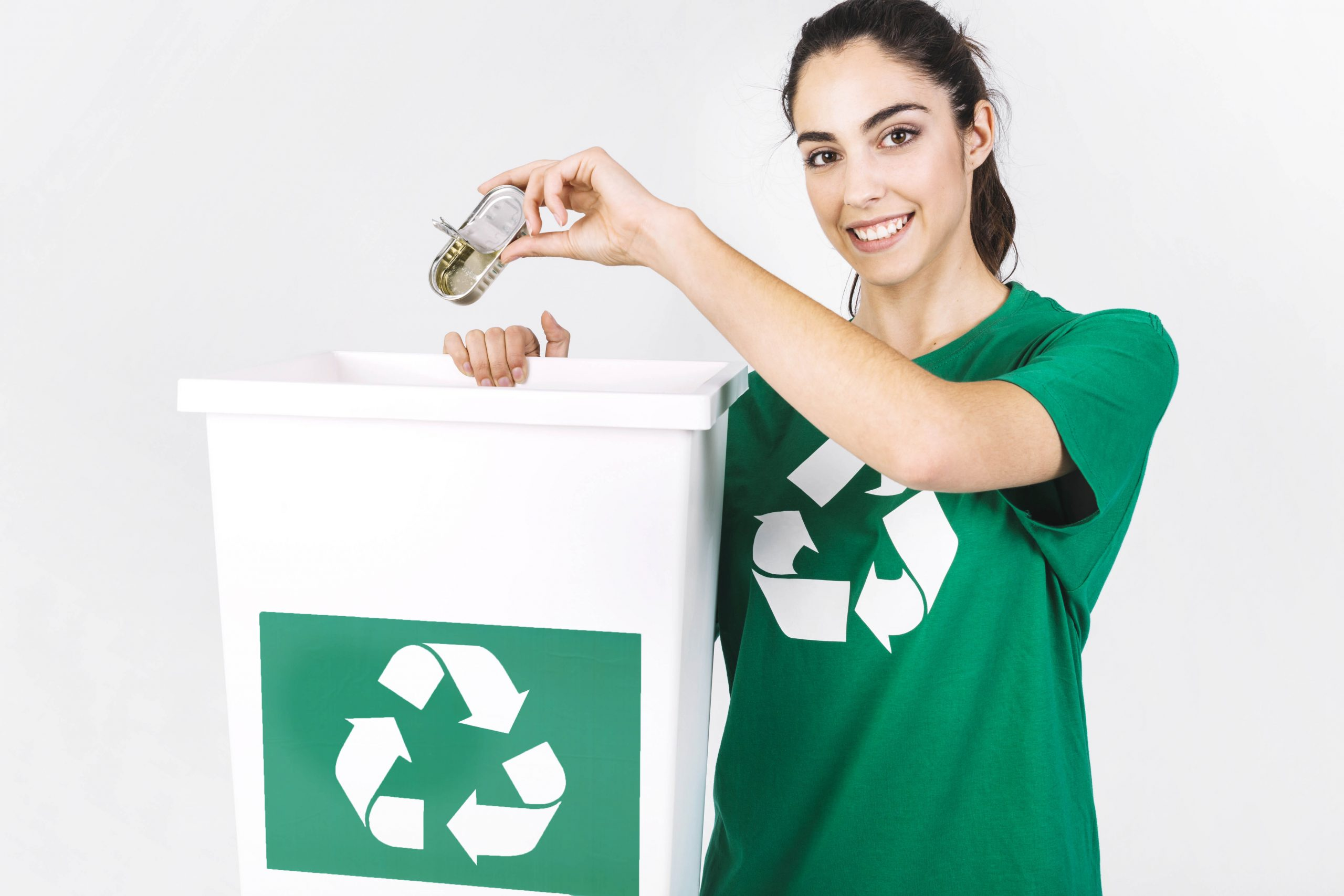 Girl recycling