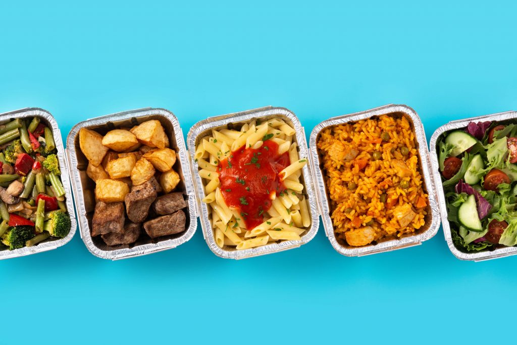 Office lunches in tin foil containers
