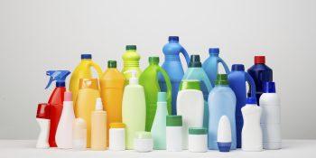 Rainbow of plastic bottles