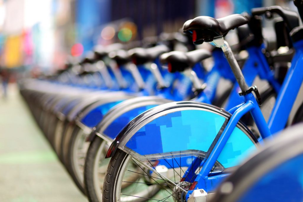 ride-share bikes in a row
