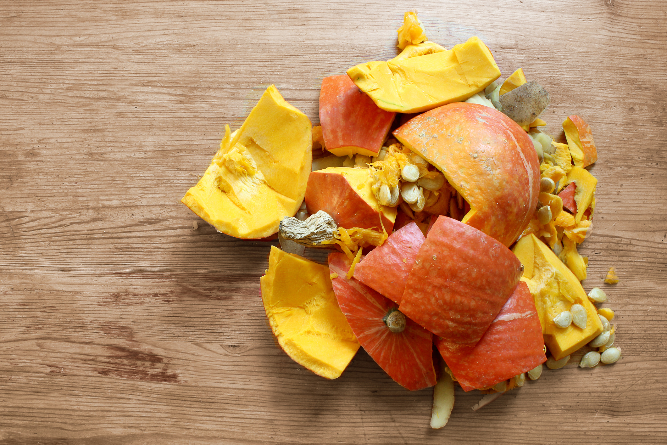 Smashed Pumpkin on a wooden table